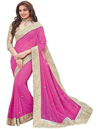 Online Hub New Disigner Georgette Party Wear Sarres For Women