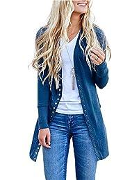 LIEBE721 Mujer Invierno Cardigan Jersey de Punto Suelto Color Sólido Chaqueta Botón Suéter para Otoño Invierno Pullover Camisetas Túnicas