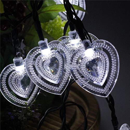 Luci a forma di cuore con luci di san valentino a forma di cuore impermeabile decorazione : 6m, bianco