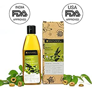 Soulflower Coldpressed Olive Carrier oil, For hair and skin, Massage, Nail and cuticle care. Top grade, premium quality, Undiluted, Pure and Natural, Paraben Free, 225ml