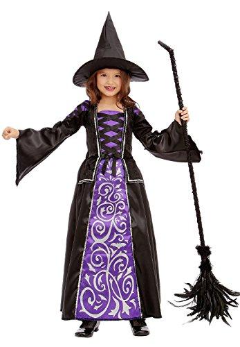 Glamouröse Hexe - Hexenkostüm für Kinder Halloween lila-schwarz-silber - Hexenkostüm Mädchen M (128/134)