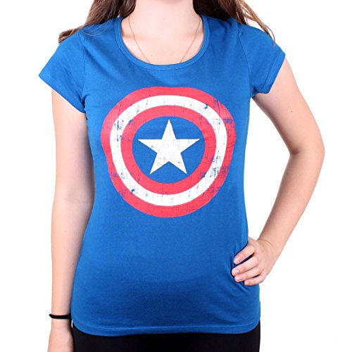 Captain america Cracked Shield Girl-Shirt Blau M (Captain T-shirt T-shirt America)