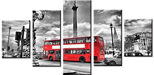 Wowdecor Bilder 5 Teilig Leinwand Malerei Drucke - Schwarz und Weiß London Straße Rot Bus Giclee Home Wohnzimmer Schlafzimmer Wand Bild Deko, Poster Geschenk Gedruckt - Ungerahmt ()