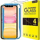 OuNee [4 Pezzi] Vetro temperato iPhone 11 / XR 6.1' Protezione Schermo,Installazione Semplice con Cornice di Allineamento, HD Clear, durezza 9H, Anti-graffio, Pellicola Protettiva per iPhone 11 / XR