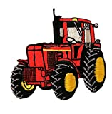 Traktor - rot - Aufnäher Aufbügler Applikation Patch - ca. 7,5 x 7,5 cm
