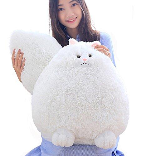(winsterch Kinder Plüschtiere Plüschtier Katze Spielzeug Weiche Plüsch Weiße Katze Große Plüschtier Püppchen Stofftier Katze Kuscheltier(50 cm) EINWEG)