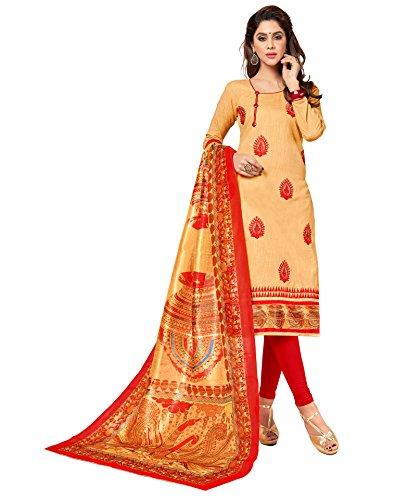 Priyavadhu Women's Slub Cotton straight Unstitched Salwar kameez Dress material (BLBSTR1005_Beige_Free Size)