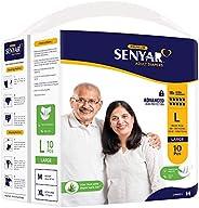 Senyar Unisex Adult Diaper with Aloe Vera & Super Lock Gel, Large Waist Size (40 - 55 inches) - 10 Adult D