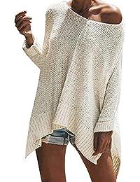Vertvie Damen Pullover Trägerlos Schulterfrei Lose Oversize Langarm  Oversize Top Lange Sweatshirt Shirt… 49ada903e8