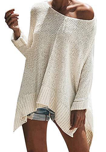 Vertvie Damen Pullover Trägerlos Schulterfrei Lose Oversize Langarm Oversize Top Lange Sweatshirt Shirt Oberteil Hemd (S, Weiß)