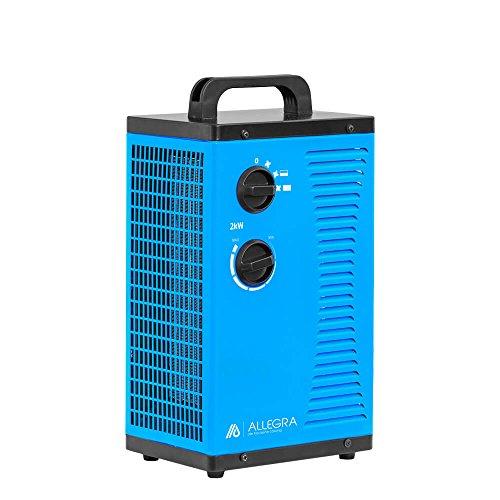 ALLEGRA H22 Elektro Heizlüfter Keramik 2000 Watt Elektroheizer 2 KW Heizgerät Bauheizer mit Thermostat und ca. 1,5m Zuleitung
