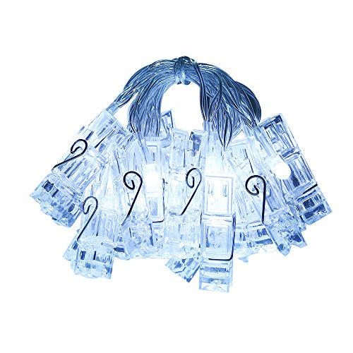 Gledto 220cm 20LED Bianco Freddo Foto Clip Molletta Impermeabile Luce Strisce Luce della Stringa Chiara Stella Alimentata a Batteria per Giardini Casa Matrimonio Festa di Natale Compleanno