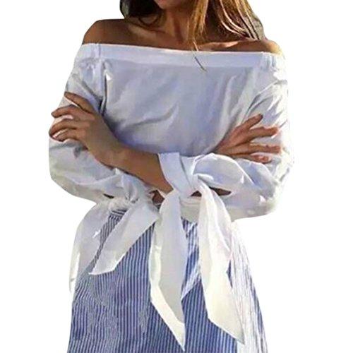 Nlife Frauen-Art und Weise weg vom Schulter Bowknot-Bindung-lange Hülsen-Hemd-Blusen-T-Stück-Oberseiten White