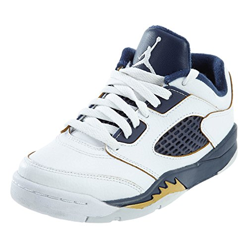 Nike Jungen Jordan 5 Retro Low (PS) Basketball Turnschuhe, Weiß/Goldfarben (White/Metallic Gold-Mdnght NVY), 30 EU