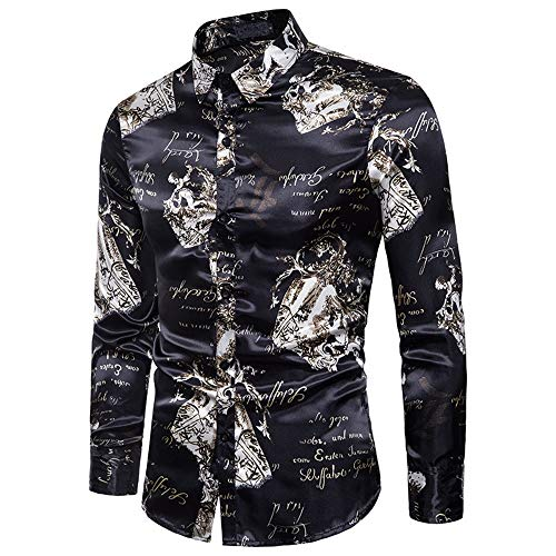 Mens Dress Casual Shirts Mens Black Print Metallic Shiny Nachtclub Slim Fit Revers Kragen Langarm Button Down Shirt für Disco Party Bankett Slim Fit Dress Shirt ( Farbe : Schwarz , Größe : M ) -
