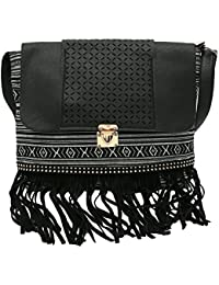 Hawai Women Black Laser Design PU Sling Bag