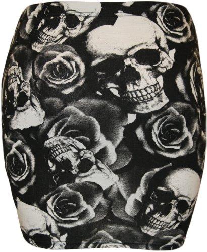 Da donna stampa stretch Bodycon elasticizzato jersey breve mini gonna–8–14 Crâne Roses