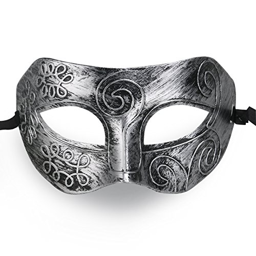 (Cool Männer griechischen Roman Fighter Masquerade Maske Maske für Fancy Dress Ball Party/Maskenball/Halloween (Silber))