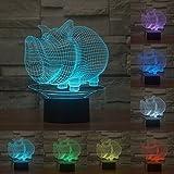 3d Illusion Cerdo jabalí animal Lámpara luces de la noche ajustable 7 colores LED 3d Creative Interruptor táctil estéreo visual atmósfera mesa regalo para Navidad