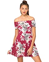 Motel Catalina Off The Shoulder Dress in Blur Flower Aubergine