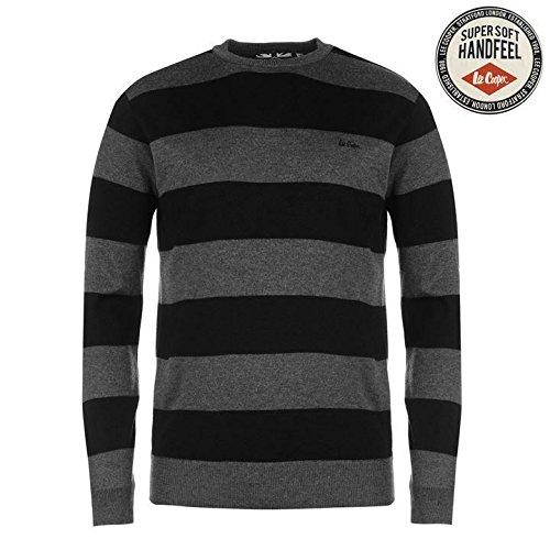 Lee Cooper Stripe girocollo maglia jumper maglione da uomo, colore: Nero/Antracite, pullover, Black/Charcoal, L