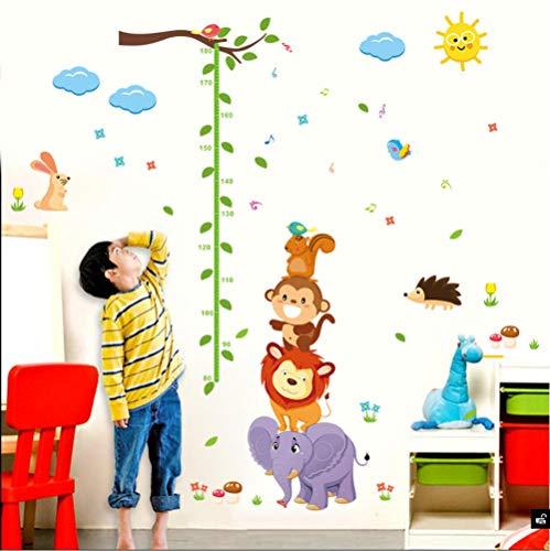 Guooe Kinderzimmer Deko Junge Mädchen Messlatte Kind, Kinderzimmer Elefant Löwe Affe Vögel Dschungel Tiere Höhe Maßnahme Wachstum Wandaufkleber Höhe Chart Decol Wohnkultur Poster - Chart Tür Wachstum