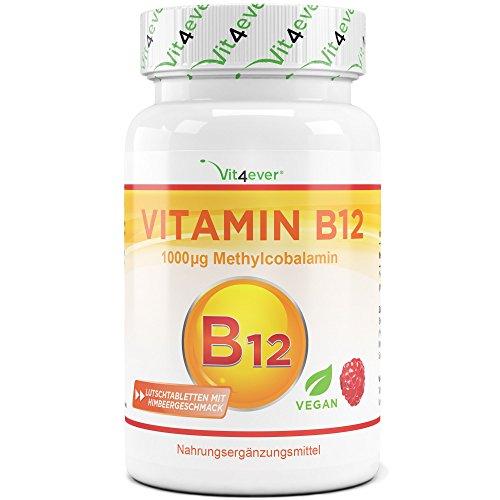 Vitamin B12 1000 µg (mcg), 100 Tabletten, aktives Vitamin B12 als Methylcobalamin, Lutschtabletten mit Himbeere Geschmack, vegan, Methyl, hochdosiert, Vit4ever (Mcg 100 Lutschtabletten)