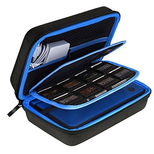AUSTOR Hart Tasche Tragetasche für Nintendo Neue 3DS XL-Schwarz / Blau (Nintendo 3ds Blau Xl)