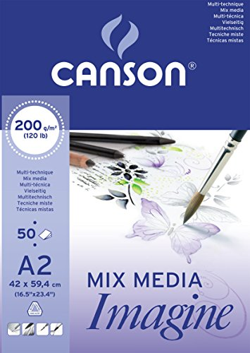 Canson Imagine - Bloc papel de dibujo, A2-42 x 59,4 cm, color blanco