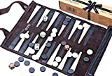 Backgammon Set - Luxury Genuine Leather Backgammon Set - Travel Roll up Set Inc. Gift Packing - Jaques of London - Since 1795