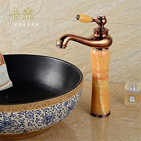 XiaofatYA--Une personnalité créative rétro européenne de style européen,Robinet,Banc en pierre naturelle à froid et chaud du bassin bassin d'art en cuivre