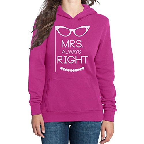 Mrs. Always Right Damen Kapuzenpullover Hoodie - Lustige Motive Ich Habe Immer Recht Rosa