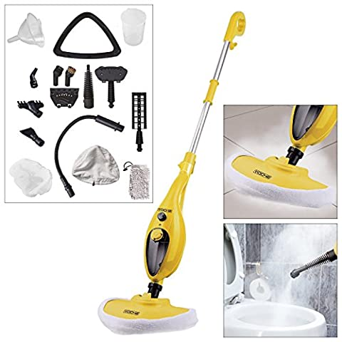 Voche® Yellow 1300W 16-in-1 Upright Steam Mop with Detachable Hand-Held Steam Cleaner with Attachments and Accessories - Includes Steam Window Cleaning Attachment and Garment Steamer!