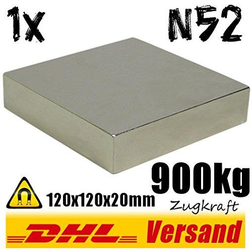 Extrem starker Neodym Magnet 120x120x20mm 900kg Zugkraft N52 Industriemagnet vernickelt