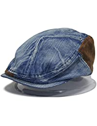 LOCOMO Men Women Couple Matching Washed Jeans Denim Fabric Flat Cap FFH232DBLU
