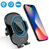 Qi ladegerät Handyhalter Auto-Infrarot Vollautomatisch Öffnen/Schließen Wireless Charger kfz Universal Handyhalterung Lüftung Schnell Induktion iPhone XS/XS Max/XR/X/8/8 Plus Galaxy Note 9/S9/S9+/S8