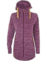 Twentyfour Damen Strick Fleece Mantel Finse - Lange Strickfleece Jacke mit Kapuze, warm und bequem