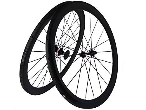 Flyxii Lot de 2 jantes de vélo de route tubulaires en carbone 3K, largeur 50mm, avec moyeu...