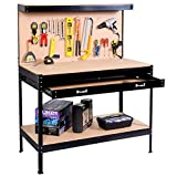 Costway Garage Tool Box Work Bench Storage Pegboard Shelf Drawer Workshop Station Steel Black