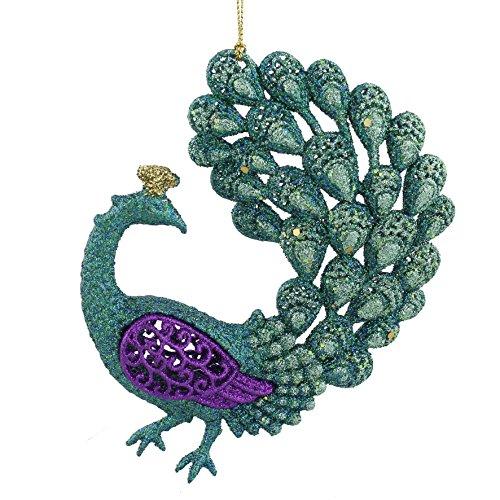 Widdop & co grande lusso in vetro, colore: viola/blu/oro pavone design albero di natale/decorazione glitter–14cm