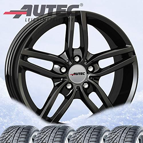 4 Winterräder Autec Kitano 7,5x17 ET52 5x112 Schwarz mit 225/55 R17 97H Hankook Winter i*cept evo2 W320 für BMW X1 X2
