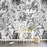 Hwhz Personnalisé 3D Murale Murale Noir Blanc Pivoine Fleur Aquarelle 3D Papier Peint Salon Chambre Tv Fond Maison Décoration Fresco-400X611Cm