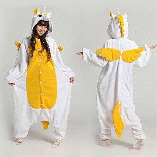MH-RITA Hot Sale Unisex Flanell verliebte Paare Tier Schlafanzug Einteiler Cartoon Cosplay Kostüm nach Einhorn Pyjama Pyjama Nachtwäsche, Gold, M