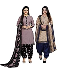 Rajnandini Women's Cotton Unstitched Salwar Suit (Pack of 2) (JOPL710A-1006_Pink & Beige_Free Size)