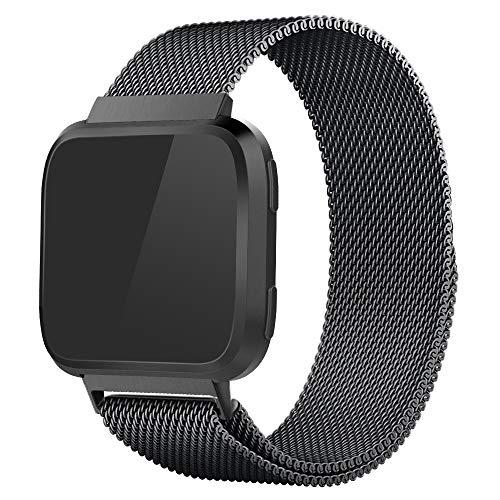 Simpeak Ersatz Fitbit Versa Armband/Fitbit Versa Lite Armband, Edelstahl Ersatzzubehör Metallband Band Straps Simpeak Ersatz Fitbit Versa, klein,schwarz