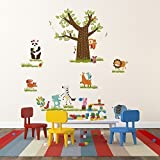 Walplus Wall Stickers Kids Zoo Removable Self-Adhesive Mural Art Decals Vinyl Home Decoration DIY Nursery Children Wallpaper Kids Room Gift, Multi-colour - Walplus - amazon.co.uk