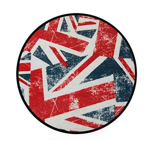 CPYang Teppich, Vintage-Design, UK-Flagge, rutschfest, rund, für Wohnzimmer, Schlafzimmer, Flur, Heimdekoration, 92 cm Durchmesser (Baumwoll-teppich Britische)