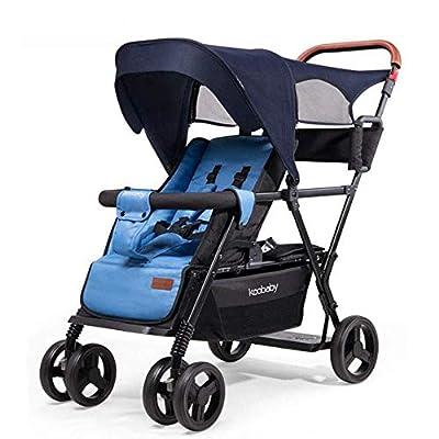 zdw Contours Curve Tandem Double Stroller para bebés, niños pequeños o gemelos - 360 y grados; Volteo y fácil manejo sobre bordillos Múltiples opciones de asientos, A