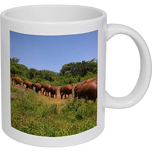 Azeeda 320ml 'Elefantes' Taza de Ceramica (MG00006817)