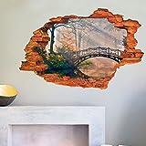 Zooarts Puente de bosque naturaleza paisaje extraíble pared vinilo adhesivo adhesivos